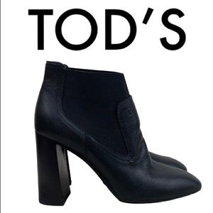 TOD'S BLACK BLOCK HEEL BOOTIES SIZE 7.5
